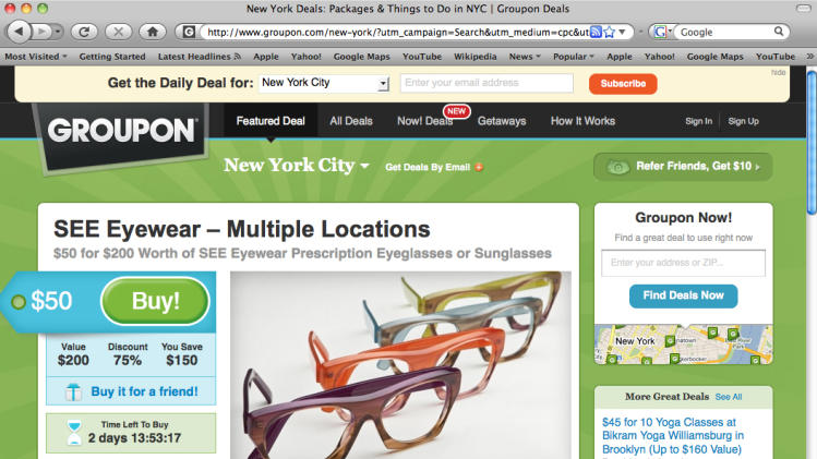 This screen shot shows eyewear coupons for the New York City area offered by Groupon.com. Daily deal sites such as Groupon and LivingSocial, best known for discounts at local restaurants and spas, are helping some people fill holes in health insurance coverage. (AP Photo/Groupon.com)