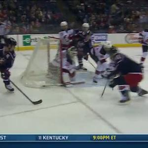 Dubinsky works behind the net to set up score