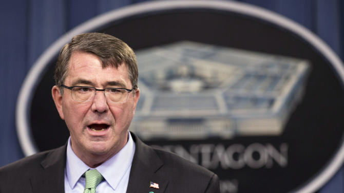 """FILE - In this May 1, 2015 file photo, Defense Secretary Ash Carter speaks during a news conference at the Pentagon in Washington. The Islamic State group's takeover of Ramadi is evidence that Iraqi forces do not have the """"will to fight,"""" Defense Secretary Ash Carter said in an interview on CNN's """"State of the Union"""" that aired Sunday, May 24, 2015. (AP Photo/Manuel Balce Ceneta, File)"""