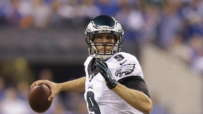 Philadelphia Eagles quarterback Nick Foles throws during the first half of an NFL football game against the Indianapolis Colts Monday, Sept. 15, 2014, in Indianapolis