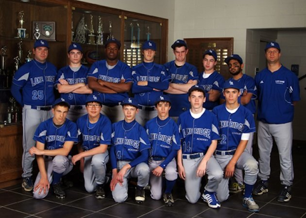 Nico Ortiz, second from right in back row, threw a perfect game in his first-ever start — Lake Ridge Academy