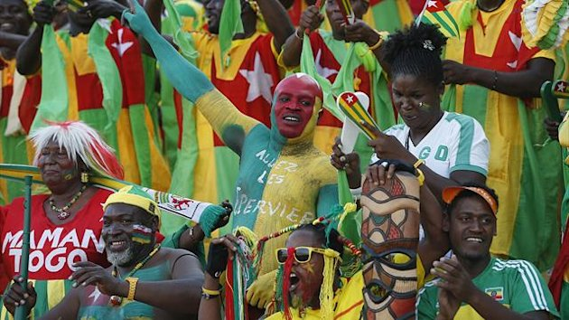 Togo supporters celebrate their team's equalizing goal (Reuters)