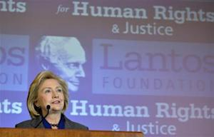 Former U.S. Secretary of State Hillary Clinton makes remarks after receiving the 2013 Tom Lantos Human Rights Prize from the Lantos Foundation for Human Rights and Justice, during a ceremony on Capitol Hill in Washington
