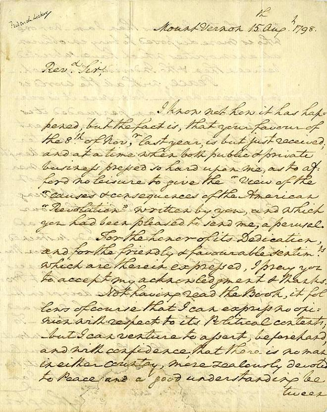 This undated photo provided by Profiles in History shows the opening page of a letter hand written by George Washington. The letter will be offered at auction by Profiles in History on Dec. 18, 2012. (AP Photo/Profiles in History)