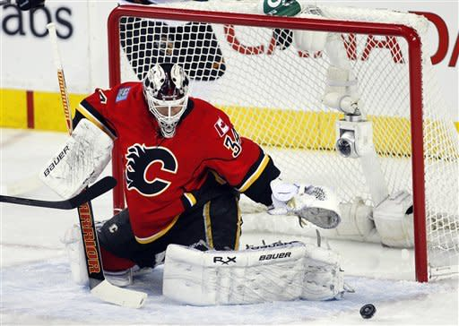 Kiprusoff returns, leads Flames over Sharks 4-1