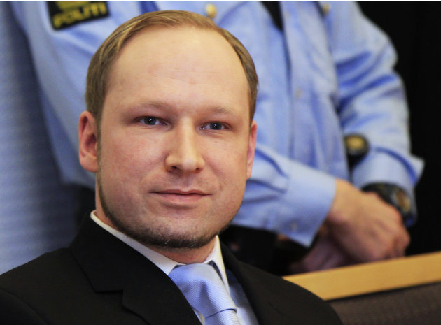 Anders Behring Breivik, a right-wing extremist who confessed to a bombing and mass shooting that killed 77 people on July 22, 2011, arrives for a detention hearing at a court in Oslo, Norway, Monday,