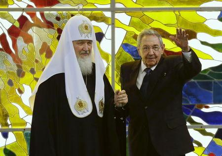Russian Orthodox Patriarch Kirill and Cuba's President Raul Castro meet in Havana
