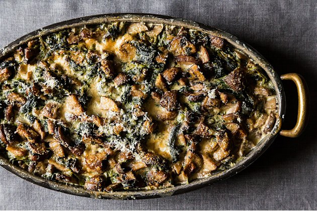 Spinach, Mushrooms, and Cream for Dinner
