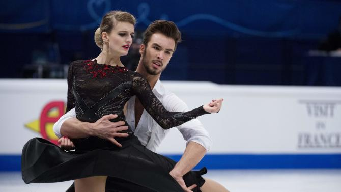 France's Papadakis and Cizeron perform during the pairs short dance program at the ISU European Figure Skating Championships in Stockholm