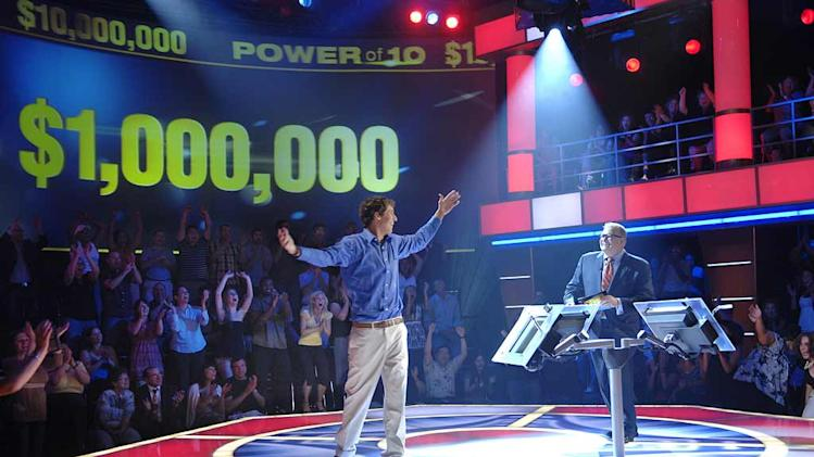 During the premiere episode for Power of 10 hosted by Drew Carey (right), Jamie Sadler (left), a pre-med student from Upper Montclair, New Jersey won $1 Million Dollars after accurately predicting how the American public responded to a number of provocative poll questions.