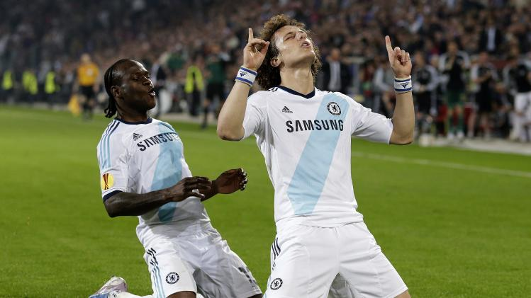 Chelsea's David Luiz, right, celebrates his goal in front of teammate Victor Moses, during the Europa League semifinal first leg soccer match, at the St. Jakob-Park stadium in Basel, Switzerland, Thursday, April 25, 2013. (AP Photo/Keystone, Salvatore Di Nolfi)
