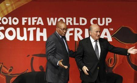 FIFA president Joseph Sepp Blatter and South Africa president Jacob Zuma attend the launch of the FIFA World Cup Legacy Trust for South Africa in Johannesburg