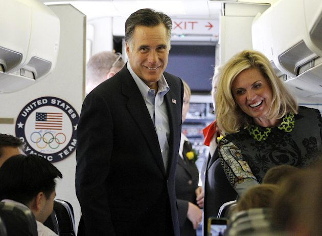 Republican presidential candidate and former Massachusetts Gov. Mitt Romney and his wife Ann board his charter plane at London Stansted Airport, Saturday, July 28, 2012, as he travels to Israel.