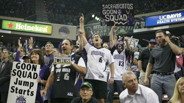 Sacramento Kings fans get pumped up before an NBA basketball game against the Los Angeles Clippers in Sacramento, Calif., on April 17, 2013.(AP Photo/Steve Yeater)