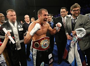Sergey Kovalev reacts after knocking out Cedric Agnew in March. (AP)