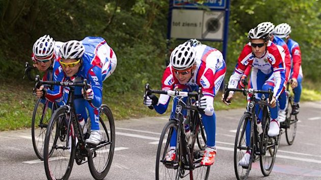 Members of team Russia ride their bicycles during a training session at the UCI Road World Championships in Valkenburg September 20, 2012 (Reuters)