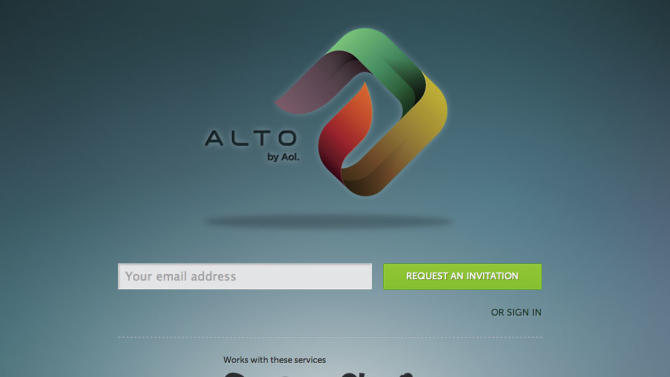 """This screenshot shows a preview for Alto, AOL Inc. launched Alto on Thursday,Oct. 18, 2012, not as a new email service, but rather, Alto works in concert with other email accounts to clean out and organize messages, social network notifications, daily deals, photos and email attachments. The service is available for free by invitation to users in a closed """"beta"""" test. (AP Photo/Alto)"""