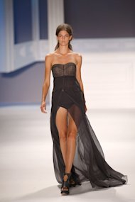 Vera Wang - A model displays one of Vera Wang's creations during her spring 2012 show at Mercedes-Benz Fashion Week in New York.