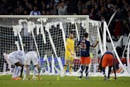 Auxerre's supporters throw tennis balls and toilet paper on the pitch during the French Ligue 1 match at the Abbe-Deschamps stadium in Auxerre. Montpellier claimed the first French league title in their history after winning the match 2-1