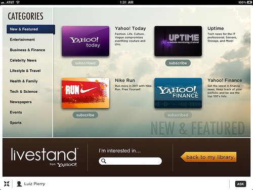 Screenshot of content categories from Livestand from Yahoo!