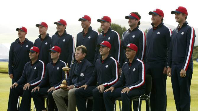 The U.S. team line up for a photograph ahead of the 2014 Ryder Cup at Gleneagles in Scotland