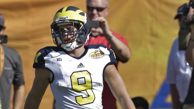 Michigan wide receiver Drew Dileo (9) celebrates after scoring on a five-yard touchdown reception against South Carolina during the second quarter of the Outback Bowl NCAA college football game, Tuesday, Jan. 1, 2013, in Tampa, Fla. (AP Photo/Chris O'Meara)