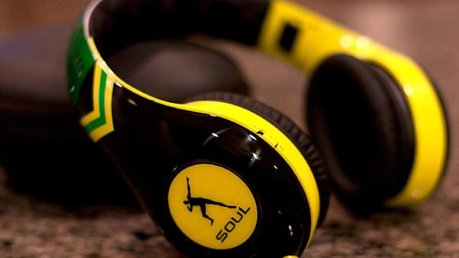 This Dec. 17, 2012, photo, shows, a pair of headphones from SOUL by Ludacris, in Decatur, Ga. The Usain Bolt signature model headphones feature noise-canceling technology, 40mm drivers and collapsible construction.(AP Photo/Ron Harris)