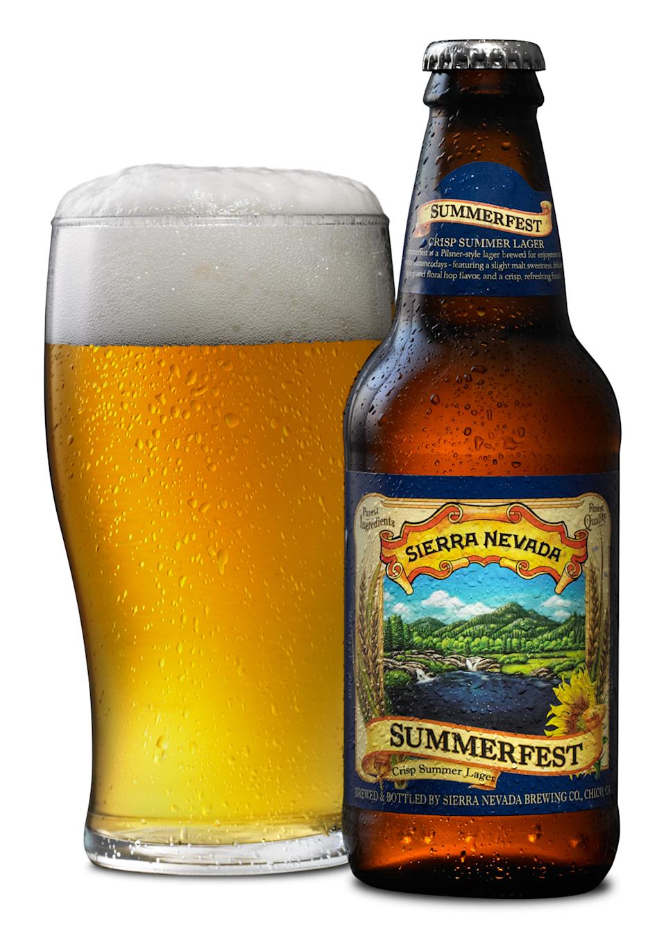 This undated photo provided by Sierra Nevada Brewing Co. shows a bottle and glass of Summerfest crisp summer lager. (AP Photo/Sierra Nevada Brewing Co.)