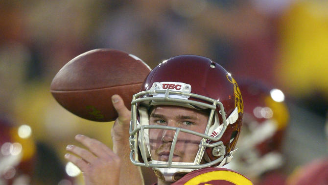 Southern California quarterback Max Wittek warms up for an NCAA college football game against Notre Dame, Saturday, Nov. 24, 2012, in Los Angeles. (AP Photo/Mark J. Terrill)