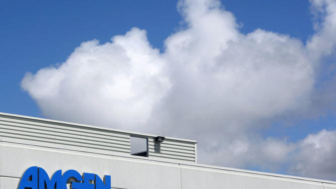 FILE - This April 20, 2010, file photo,shows an exterior view of Amgen offices in Fremont, Calif.  Biotech drugmaker Amgen Inc. said Tuesday , Oct. 23, 2012, that its third-quarter profit more than doubled from a year ago, when a huge legal reserve charge weighed down results. (AP Photo/Paul Sakuma, file)