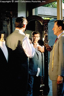 Tailor Harry Pendel ( Geoffrey Rush , right) may be known for his fine suits, but British spy Andrew Osnard ( Pierce Brosnan ) has more than haberdashery to discuss with the ex-con in the Columbia Pic