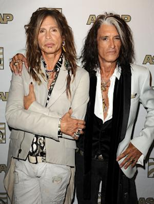 Steven Tyler and Joe Perry of Aerosmith attend a press conference and presentation of the ASCAP Founders Award at Sunset Marquis Hotel & Villas in West Hollywood, California.