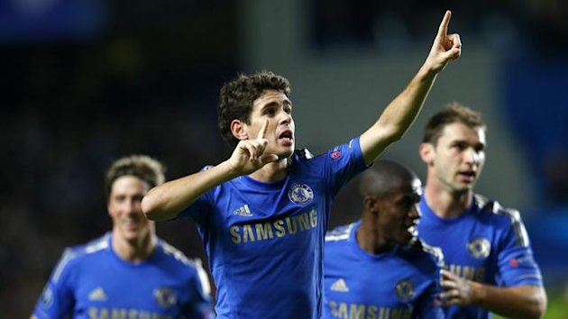Chelsea&#39;s Oscar celebrates after scoring a goal against Shakhtar Donetsk during their Champions League Group E match