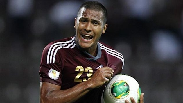 Venezuela's Salomon Rondon celebrates after scoring against Peru (Reuters)