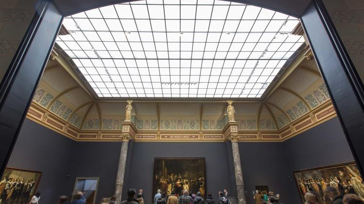 "Rembrandt's painting ""The Nightwatch""is illuminated by Philips lights in Amsterdam"