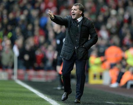 Liverpool's Rodgers reacts during their English Premier League soccer match against Arsenal at Anfield Stadium in Liverpool