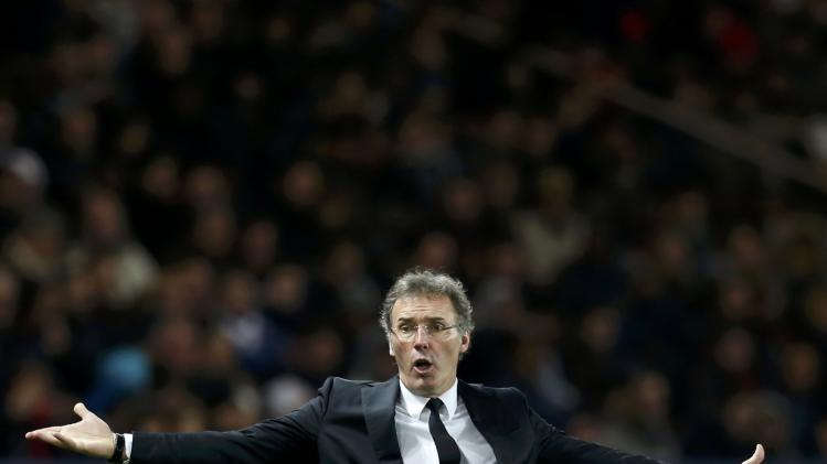 Paris St-Germain's coach Blanc reacts during his French Ligue 1 soccer match against FC Sochaux at the Parc des Princes Stadium in Paris