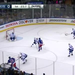 Ben Bishop Save on Chris Kreider (19:37/1st)