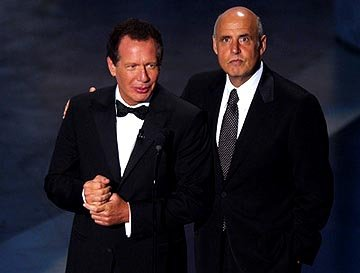 "Host Garry Shandling with his ""Larry Sanders Show"" co-star Jeffrey Tambor Emmy Awards - 9/19/2004"
