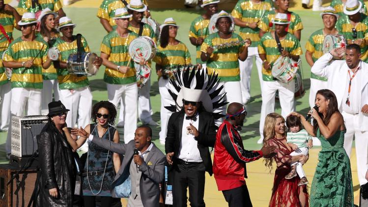 Entertainers perform during the closing ceremony at the Maracana stadium in Rio de Janeiro