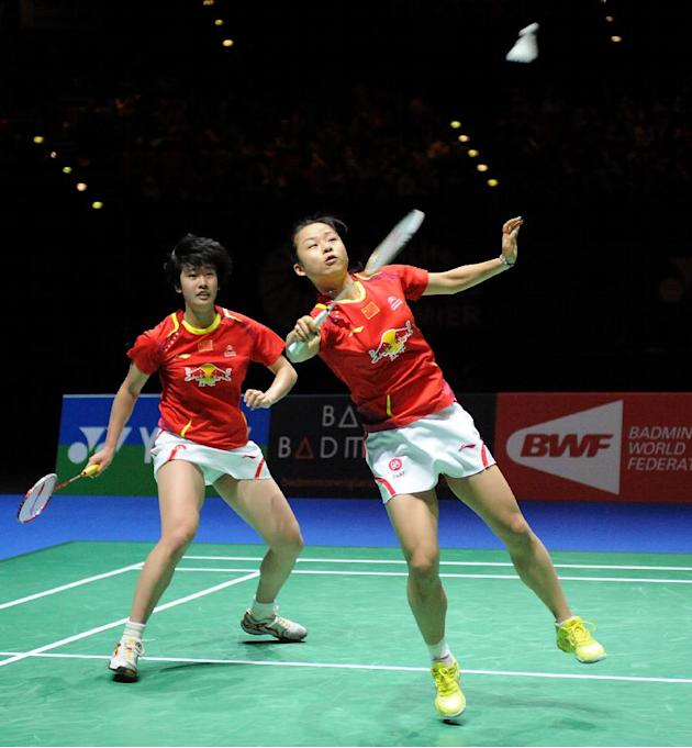 China's Ma Jin, front, in action alongside teammate Tang Yuanting  as they play China's Yu Yang and Wang Xiaoli during the Final of the Women's Doubles. China's Yu Yang and Wang Xiaoli
