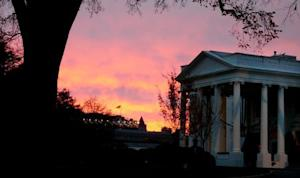 The North Portico of the White House at sunrise in Washington