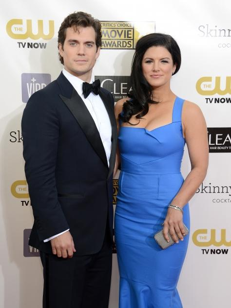 Henry Cavill and Gina Carano attend the Critics' Choice Movie Awards 2013 with Skinnygirl Cocktails at Barkar Hangar in Santa Monica, Calif., on January 10, 2013 -- Getty Premium