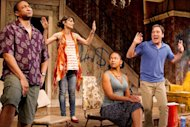 "In this theater image released by O+M Co., from left, Damon Gupton, Annie Parisse, Crystal A. Dickinson, and Jeremy Shamos are shown in a scene from ""Clybourne Park,"" at the Walter Kerr Theatre, in New York. (AP Photo/The O+M Co., Nathan Johnson Photography)"