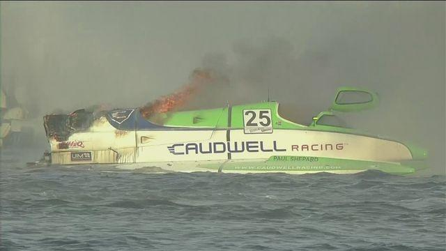 Fires and crashes interrupt Powerboating qualifying
