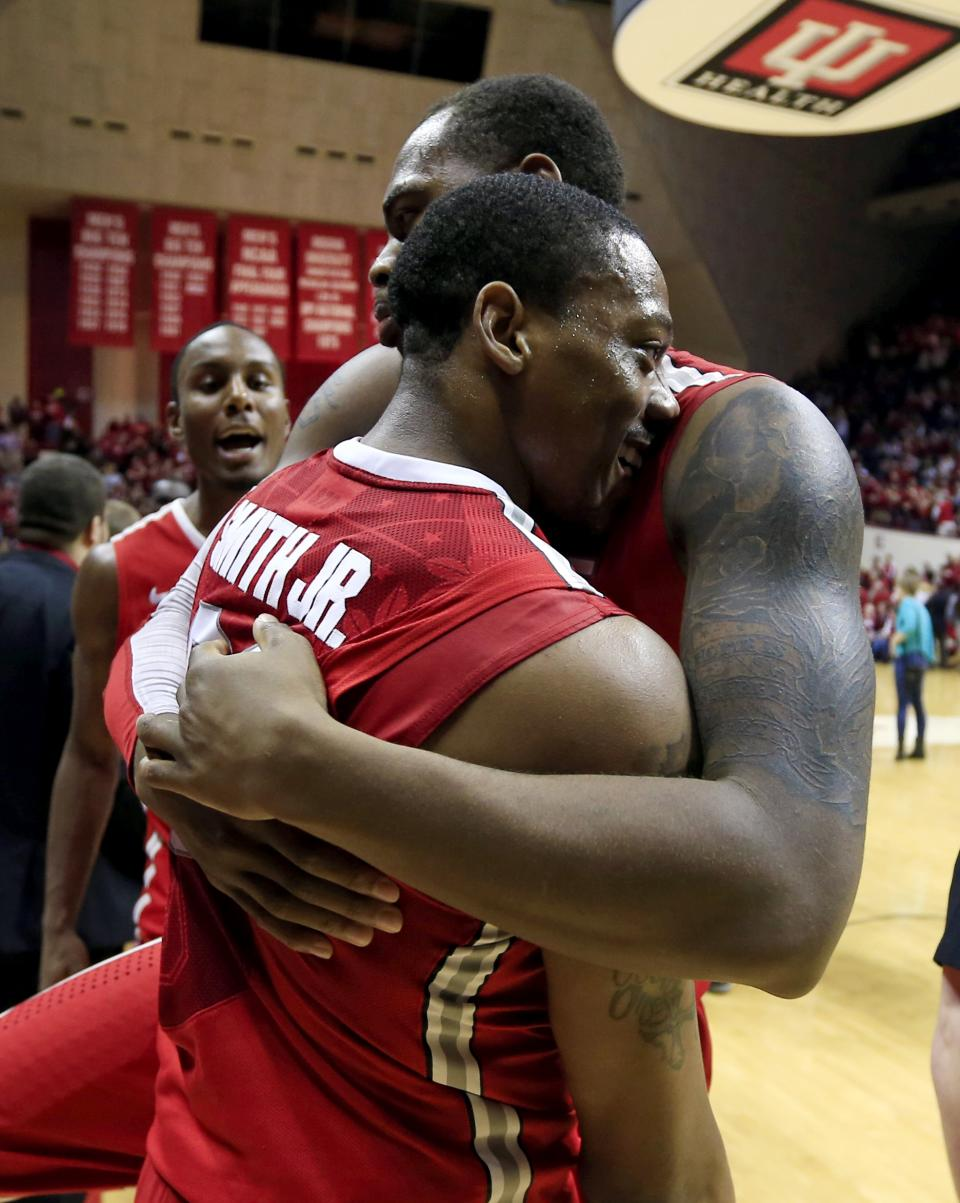 Ohio State's Deshaun Thomas (1) celebrates with Lenzelle Smith Jr., (32) after their 67-58 win over Indiana in an NCAA college basketball game, Tuesday, March 5, 2013, in Bloomington, Ind. (AP Photo/Darron Cummings)