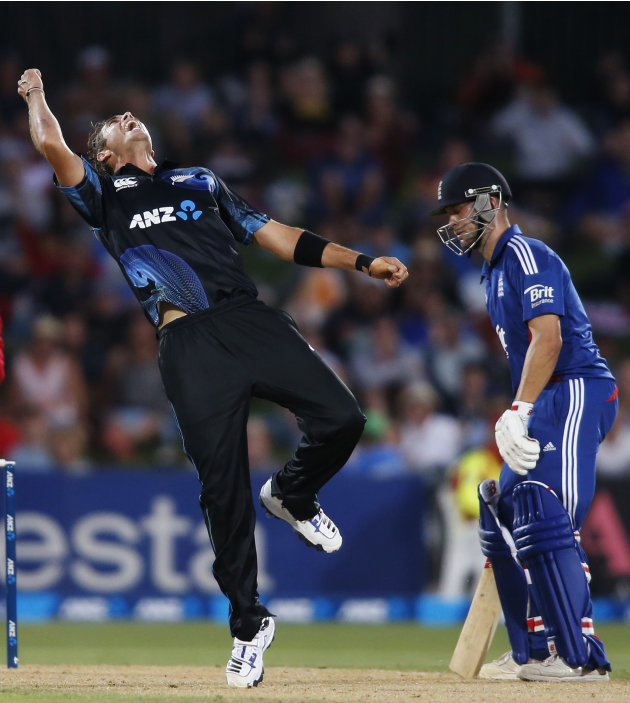 Southee of New Zealand celebrates dismissing Cook of England during the second cricket match of their one-day international series in Napier
