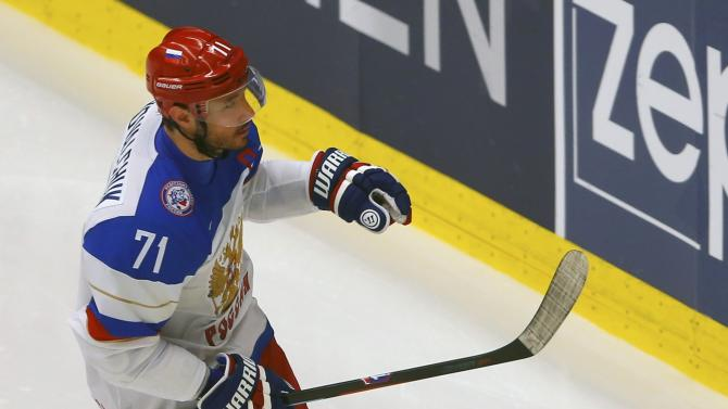 Russia's Kovalchuk celebrates his goal against Slovenia during their Ice Hockey World Championship game at the CEZ arena in Ostrava