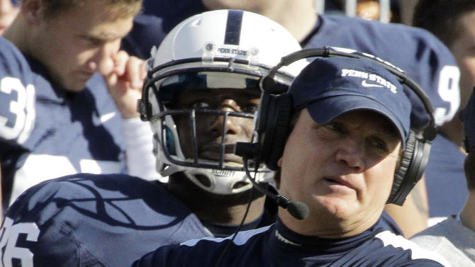 Penn State interim head coach Tom Bradley watches from the sidelines during the second quarter of an NCAA college football game against Nebraska in State College, Pa., Saturday, Nov. 12, 2011. (AP Photo/Gene J. Puskar)