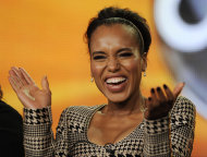 FILE - In this Jan. 10, 2012 file photo, actress Kerry Washington gestures in Pasadena, Calif. Sarah Jessica Parker, Kerry Washington and Forest Whitaker are signing up for a new initiative Monday with the Obama administration to adopt some of the nation's worst-performing schools and help turn them around by integrating arts education throughout the schools. (AP Photo/Chris Pizzello, File)